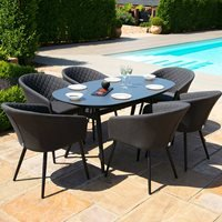 Maze Rattan Ambition 6 Seat Oval Dining Set - Lead Chine