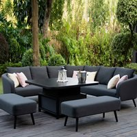 Maze Rattan Ambition Square Corner Dining Set with Rising Table - Taupe