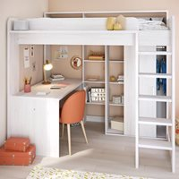 Product photograph showing Parisot Higher Kids High Sleeper Bed With Desk Wardrobe