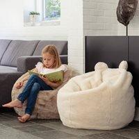 Product photograph showing Kids Faux Fur Polar Bear Bean Bag