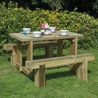 Forest Garden Refectory Table and Sleeper Bench Set - 1.8m