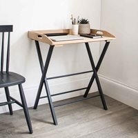 Product photograph showing Garden Trading Clockhouse Desk Tray Table In Carbon Oak