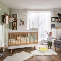 Product photograph showing Vox 4 You 3 In 1 Baby Toddler Cot Bed In White Oak