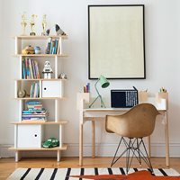 Product photograph showing Oeuf Brooklyn Height Adjustable Desk In White Birch