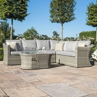 Maze Rattan Oxford Large Corner Sofa with Fire Pit Coffee Table