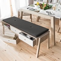 Vox Spot Bench with Drawers in Acacia and White