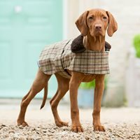Product photograph showing Tweed Dog Coat In Balmoral Check Design - Large