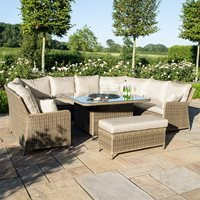 Maze Rattan Winchester Royal U-Shaped Sofa Set with Fire Pit