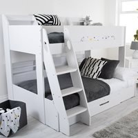 Product photograph showing Flair Furnishings Flick Triple Bunk Bed In White