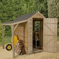 Forest Garden Overlap 6x4 Apex Shed with Lean To