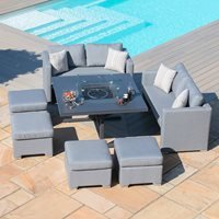 Maze Rattan Fuzion Cube Sofa Set with Fire Pit - Flanelle Grey