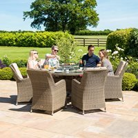 Maze Rattan Winchester 6 Seat Round Fire Pit Dining Set with Venice Chairs and Lazy Susan