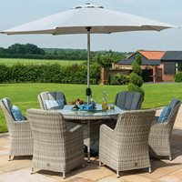 Maze Rattan Oxford Round Ice Bucket Dining Set with Venice Chairs