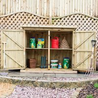 Product photograph showing The Garden Village Deluxe Treated Outdoor Fsc Wooden Garden Storage - Double