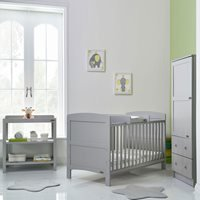 Obaby Grace Cot Bed 3 Piece Nursery Furniture Set - Warm Grey