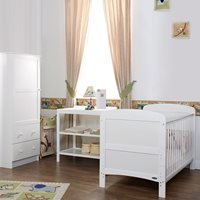 Obaby Grace Cot Bed 3 Piece Nursery Furniture Set - White