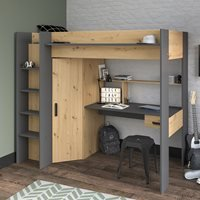 Product photograph showing Parisot Grayson High Sleeper With Desk Wardrobe