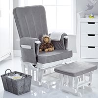 Obaby Deluxe Reclining Nursing Chair and Stool - Sand