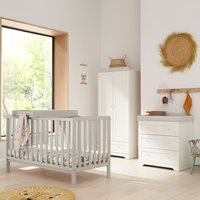 Tutti Bambini Malmo Cot Bed with Rio Furniture 3 Piece Nursery Room Set with Optional Free Mattress - Grey and Oak