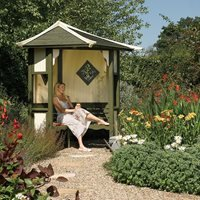 Rowlinson Haven Outdoor Corner Arbour in Natural Timber