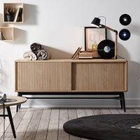 Product photograph showing Hendrix Wooden Sideboard In Black Oak