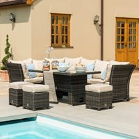 Maze Rattan Henley Corner Dining Set with Rising Table - Brown