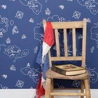Boys Wallpaper in Pirate Marine Blue