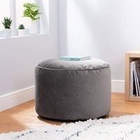 Product photograph showing Icon Milano Velvet Pouffe - Charcoal Grey