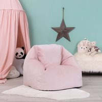 Product photograph showing Icon Kids Aurora Velvet Bean Bag Chair - Pink