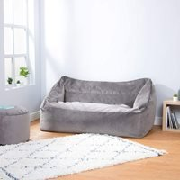Product photograph showing Icon Milano Velvet Loveseat Bean Bag - Charcoal Grey