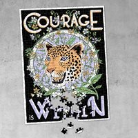 Product photograph showing Luckies Print Club London Courage Is Within Jigsaw Puzzle