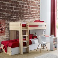 Product photograph showing Julian Bowen Eclipse Bunk Bed With Desk - White
