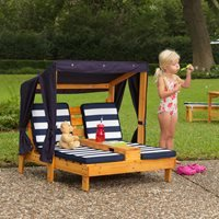 Product photograph showing Kidkraft Childrens Double Chaise Lounge With Cupholders - Navy