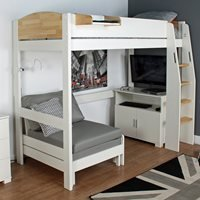 Urban Birch High Sleeper 3 Bed in White and Birch
