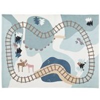 Product photograph showing Kids Concept Edvin Cotton Woodland Playmat Rug