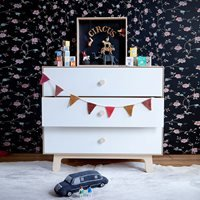 Product photograph showing Oeuf Sparrow 3 Drawer Dresser In White Birch
