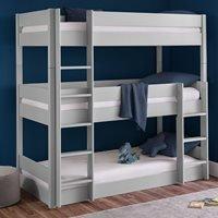 Product photograph showing Julian Bowen Trio Triple Bunk Bed - Dove Grey