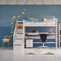 Lifetime High Sleeper Desk Bed with Steps  - Lifetime White
