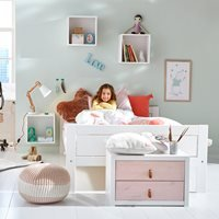 Lifetime Kids Low Luxury Bed - Lifetime Whitewash