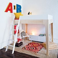 Product photograph showing Oeuf Perch Loft Bed In White Birch