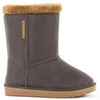 WATERPROOF SHEEPSKIN STYLE KIDS WELLY SNUG-BOOTS in BROWN - UK 10 - 10.5 (Euro 28/29)
