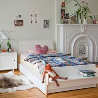 Product photograph showing Oeuf River Single Bed With Optional Trundle In White Birch