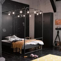 Black Metal Small Double Four Poster Bed by Woood