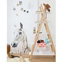 Product photograph showing Kids Teepee Bookcase By Woood - Concrete Grey