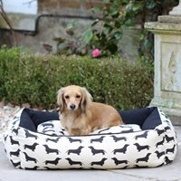 Product photograph showing Dog Bed In Dachshund Print - Small