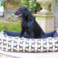 Product photograph showing Dog Bed In Labrador Print - Large