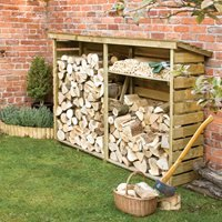 Product photograph showing Rowlinson Large Garden Log Store In Natural Timber