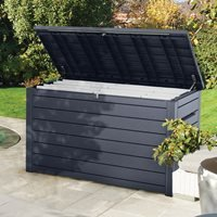 Product photograph showing Keter Outdoor Xxl Deck Storage Box - Black