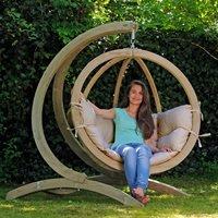 Product photograph showing Globo Garden Hanging Chair In Weatherproof Biscuit