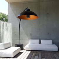 Product photograph showing Heatsail Dome Freestanding Electric Patio Heater Floor Lamp In Black With 25 Heat